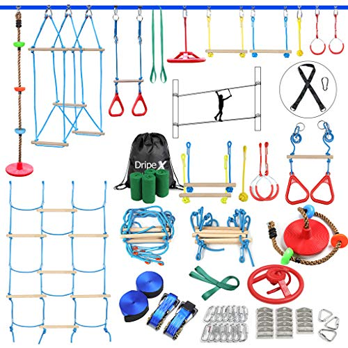 Ninja Slackline Set, Hinderniskurs für Kinder – 2 x 18 m Ninja Slackline mit komplettem Zubehör für...