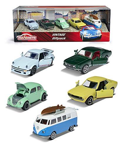 Majorette 212052013 Vintage 5er-Geschenkset, Spielzeugautos mit Freilauf aus Metall, Vintage-Versionen...