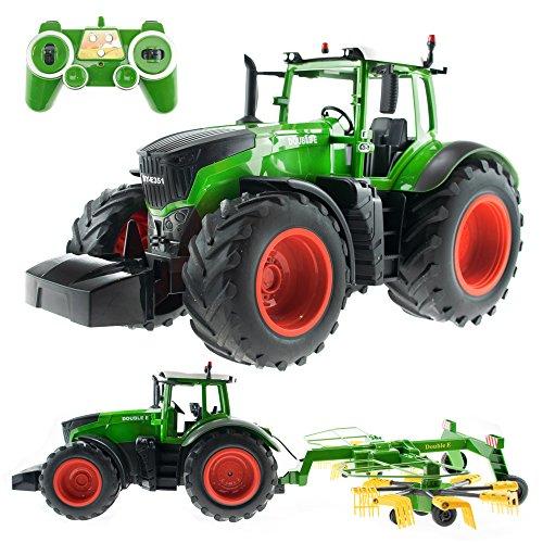 efaso E351-003 1:16 2,4 GHz Ferngesteuerter RC Traktor Trecker mit Heuwender und Licht- und Soundeffekten...