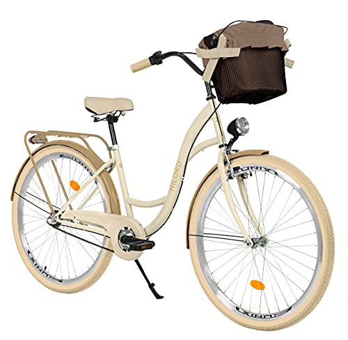 Milord. 26 Zoll 3-Gang Creme Braun Komfort Fahrrad mit Korb Hollandrad Damenfahrrad Citybike Cityrad...