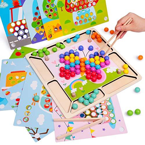 Rolimate Holzspielzeug Brettspiele Clip Perlen Puzzle, Montessori Spielzeug Vorschule Lernspielzeug...