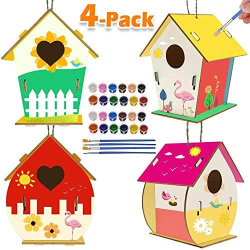 jiangwangda Aktivitäten für Kinder Kunsthandwerk für Kinder 4er-Pack DIY Bird House Kit für Kinder...
