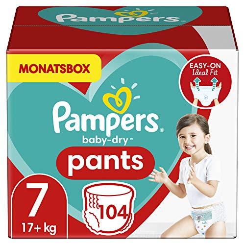 Pampers Windeln Pants Größe 7 (17+kg) Baby Dry, 104 Höschenwindeln, MONATSBOX, Einfaches An- und...