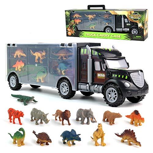 Dinosaurier Transporter Truck LKW mit 12 Spielzeug Dinosaurier Figuren Spielset Dino World Set für...
