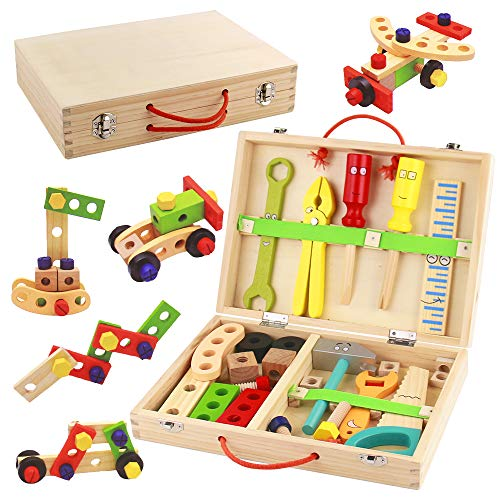 Werkzeugkoffer Kinder Holz Werkzeug Werkzeugkasten Baukasten 34 Stück Rollenspiel Spielzeug...