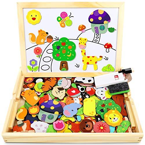 Jojoin Magnetisches Holzpuzzle mit Doppelseitiger Tafel, Holzspielzeug Puzzles Kinder, 110 Stück...
