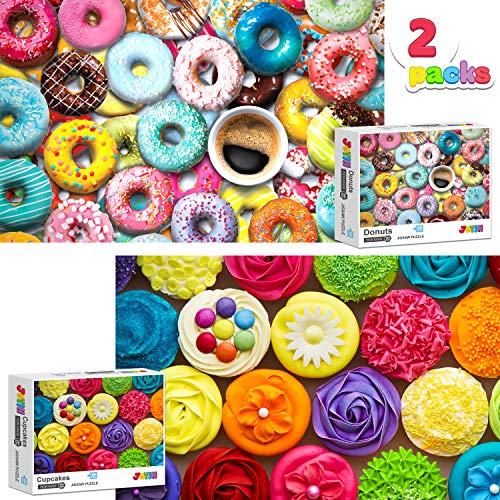 Two in One Jigsaw Puzzle 1000 Piece Repeated Seamless Snacks 2 Packs Jigsaw Puzzle, Donuts and Cupcakes...