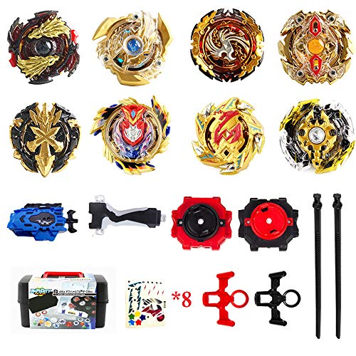infinitoo 8 Stück Kampfkreisel Set 4D Fusion Modell Golden Battling Tops Speed Kreisel Mit...