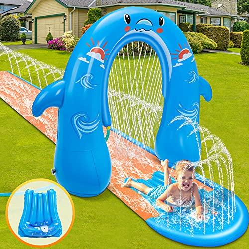 lenbest Wasserrutschen mit Bogen, 500*80cm Wasserrutsche mit 135cm Wasserspiel Bodyboards,...