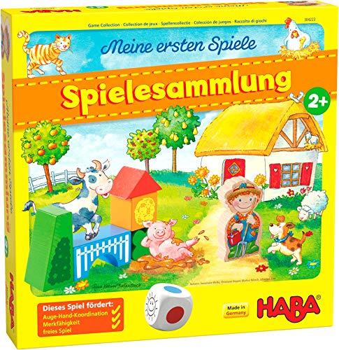 HABA 304223 - Meine ersten Spiele – Spielesammlung, 10 erste Spiele auf dem Bauernhof für 1-3 Kinder...