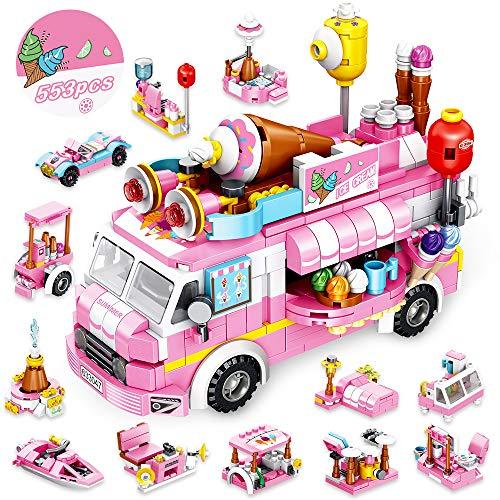 VATOS Eiswagen Bausteine Spielzeug ab 5 6 7 8 9 10 11 12 Jahre für Mädchen, 553 Stück Kreativ Rosa...