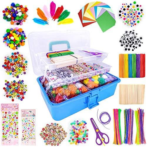 LINAYE 1600+Pcs Bastelset für Kinder Bastelzubehör Bastelmaterialin Faltbare Bastelbox Gehören...