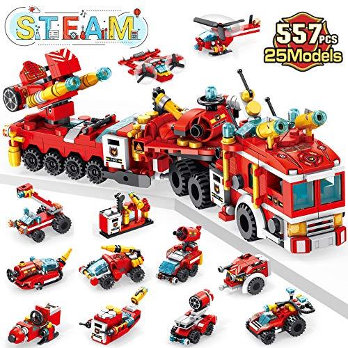 LUKAT Feuerwehrauto Spielzeug ab 5 Jahre Jungen, 557 PCS Bauspielzeug für Kinder, 25-in-1 STEM...