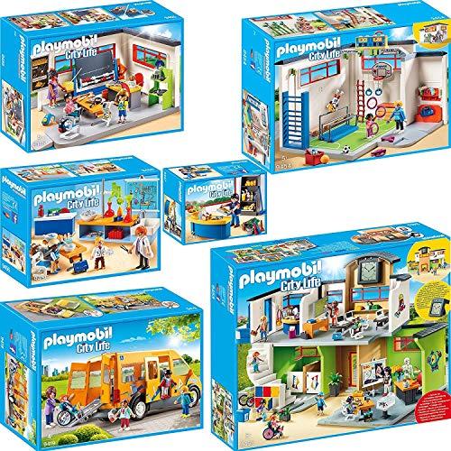 PLAYMOBIL City Life 6er Set 9453 9454 9455 9456 9457 9419 Große Schule mit Einrichtung + Turnhalle +...