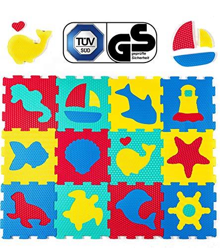 Hakuna Matte Puzzlematte für Babys – TÜV SÜD GS Zertifiziert – 12 Schaumstoffplatten mit Tieren in...