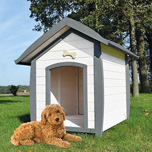 zooprinz wetterfeste Hundehütte Bella - aus massivem Holz - perfekt für draußen - mit...