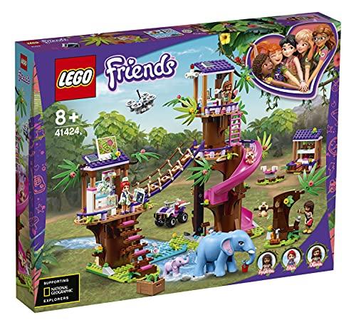 LEGO 41424 Friends Tierrettungsstation im Dschungel, Spielzeug ab 8 Jahren mit Baumhaus, Mini Puppen...