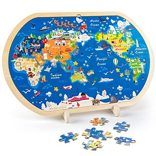 VATOS 44-teilige Holzpuzzles für Kinder, Weltkarte Puzzle für Kinder Pädagogisches Montessori...