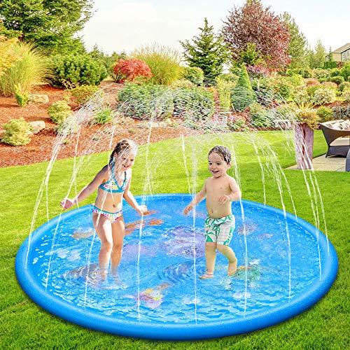 Anpro 170CM Splash Pad, Sprinkler Wasser-Spielmatte Splash Play Matte mit 15 Anti-Rutsch-Streifen, Sommer...