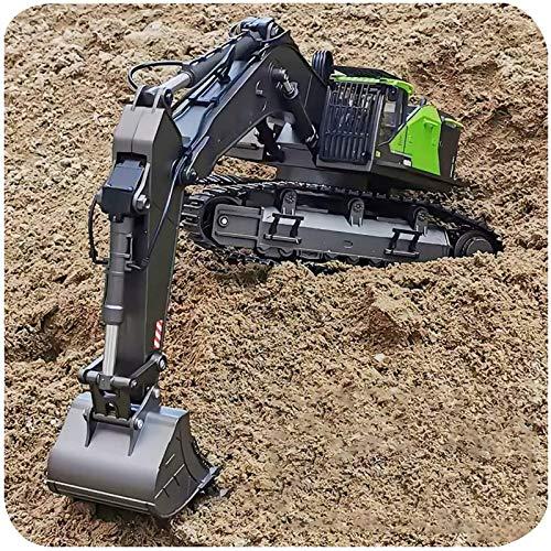 XIAOKUKU Fernbedienung RC Bulldozer, 1/14 Bagger mit Licht und Ton 22 Kanal 2.4G Metall Fernbedienung...