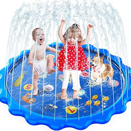 MOZOOSON Splash Pad, 170CM Wasser Spielzeug für Draußen Outdoor Garten, Wasserspielzeug Sprinkler Pool...