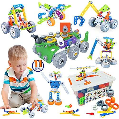 Gxi Konstruktionsspielzeug für Kinder, Bausteine Spielzeug Lernspielzeug Baukasten mit 175 Teile STEM...