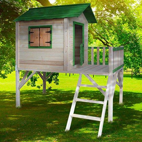 BRAST Spielhaus für Kinder mit Balkon Stelzenhaus Adventure 167x191x216cm Kinder-Haus Turm Holz...