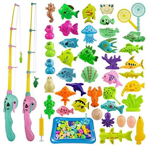 ZWOOS Angeln Spielzeug, 44 Stück Magnetisches Angelspiel Badespielzeug Badewannenspielzeug...