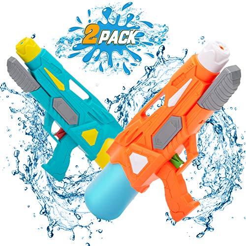 NextX Wasserpistole Pool Spielzeug Wasserspritzpistolen Super Water Guns 2er Pack 600ML Reichweite 9...