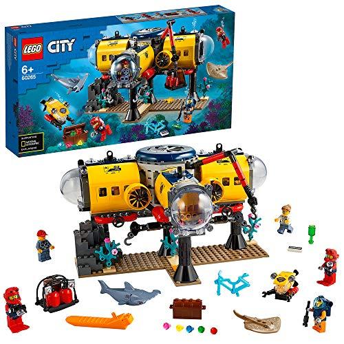 LEGO 60265 City Meeresforschungsbasis, Tiefsee-Unterwasser Set, Tauchabenteuer Spielzeug für Kinder