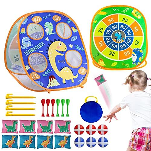 AISIPRIN 3 in 1 Sitzsack-Wurfspiel für Kinder Cornhole Spiel Klettballspiel Draußen Spielzeug für...
