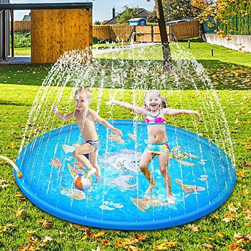 Sooair 170CM Splash Pad, Sprinkler Wasser-Spielmatte Splash Play Matte, Outdoor Sommer Garten...