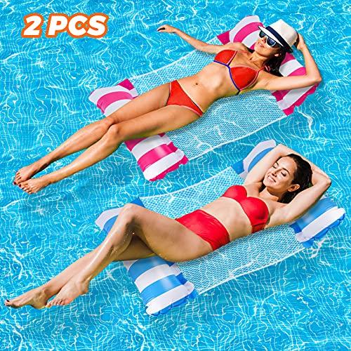 2 Pack Aufblasbare Hängematte Wasser Luftmatratze mit Netz Erwachsene 4 in 1 Mehrzweck Luftmatratze für...