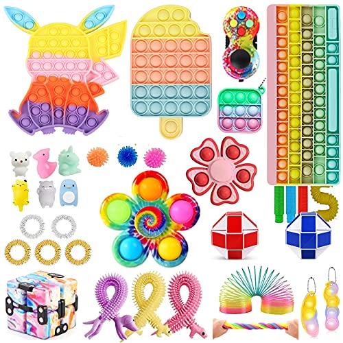 Fidget Toy Set, Fidget Pack Pop Bubble it Anti Stress Sensory Fidget Toy with Pop Anxiety Tubes Fidget...