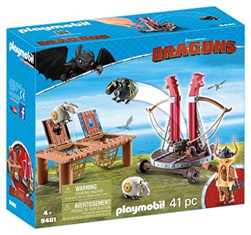 PLAYMOBIL 9461 - DreamWorks Dragons, Grobian mit Schafschleuder, Ab 4 Jahren