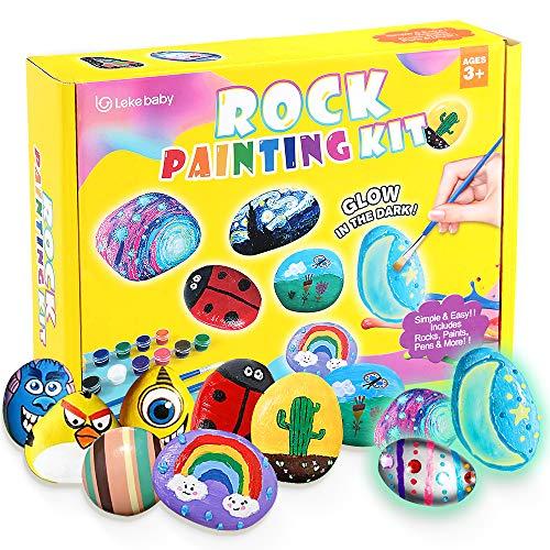 Lekebaby Steine Bemalen Set, Bastelset Kinder Steine Malen Set, Bastelset Geschenk Spielzeug für...