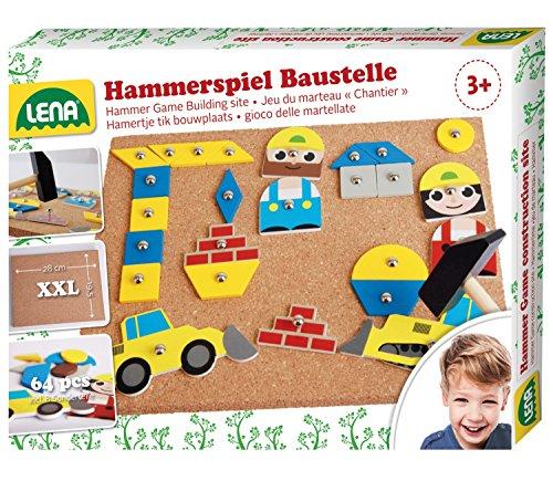 Lena 65828 Hammerspiel, Nagelspiel mit 64 bunten 8 Baustellen Teilen, Grundplatte aus Kork ca. 28 x 19,5...