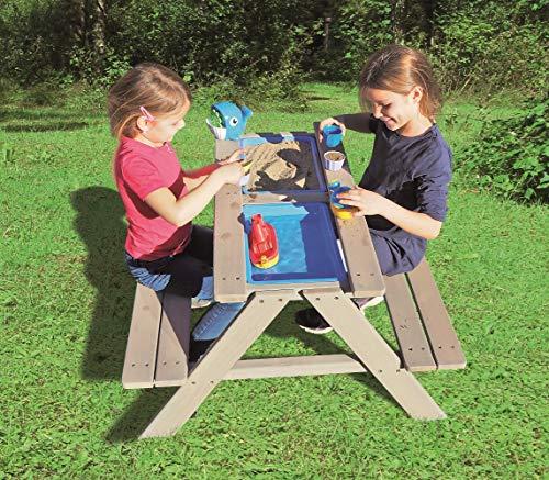 Sand- Wasserspieltisch Kindersitzgarnitur/Massivholz Tisch mit Sitzbänken Abnehmbarer Tischplatte und 2...