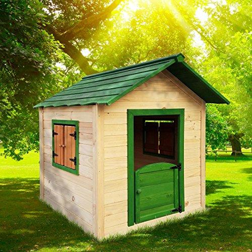 BRAST Spielhaus für Kinder 106 x111x132cm Tannenholz 12mm Kinderspielhaus Stelzenhaus Garten Baum Turm...