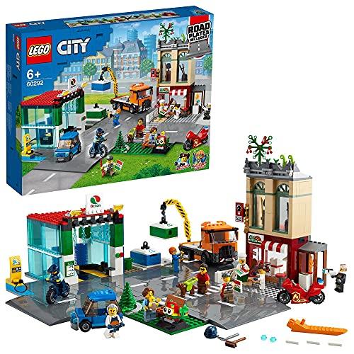 LEGO 60292 City Stadtzentrum Bauset mit Spielzeug-Motorbike, Fahrrad, Truck, Straßenplatten und 8...