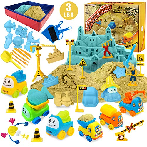 Magic Sand Kit - Spielsand Baukasten 3lbs Sand mit 2 Farben, 6 Mini Baufahrzeuge, Bauspielzeug und...