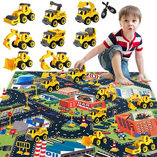 HapeeFun Montage Große LKW Spielzeug, DIY 8 * BAU Bagger Lastwagen Spielzeugautos, 80*70cm Stadtmatte &...