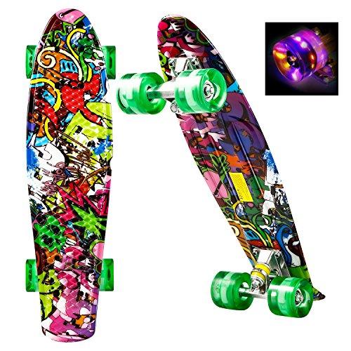 WeSkate Mini Cruiser Skateboard Retro Komplettboard, 22' 55cm Vintage Skate Board mit Kunststoff Deck und...