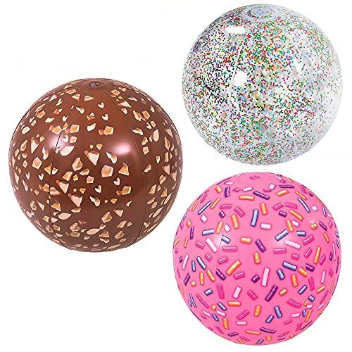 ZoneYan 3 Stück Outdoor Spielzeug Wasserball, Wasserball Kinder, Strandball Aufblasbar, Strandball Set,...