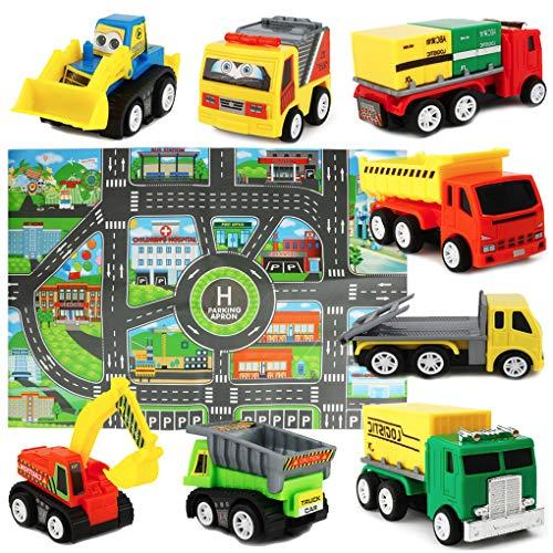 Mini Autos Modell LKW Spiele Fahrzeuge Spielzeug Set mit Karte Spielmatte für Kinder Jungen ab 3 Jahren