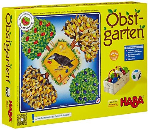 Haba 4170 - Obstgarten Spannendes Würfelspiel, mit 40 Früchten aus Holz und leicht verständlichen...