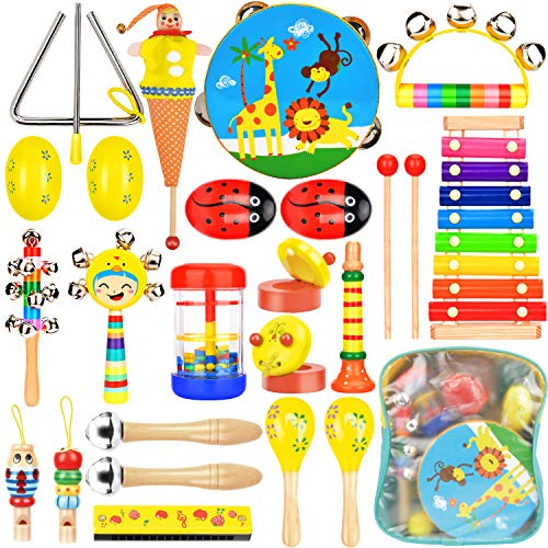 Wesimplelife Kinder Musikinstrumente Musical Instruments Set, Holz Percussion Set Schlagzeug Xylophon...