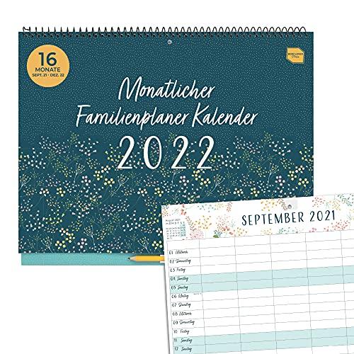 Boxclever Press Monatlicher Familienplaner 2022. Kalender 2022 Wandkalender mit 6 Spalten. 16-monatiger...