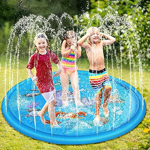 phixilin Splash Pad,170cm Sprinkler Wasser-Spielmatte Anti-Rutsch Wasserspielzeug Play Matte Sommer...