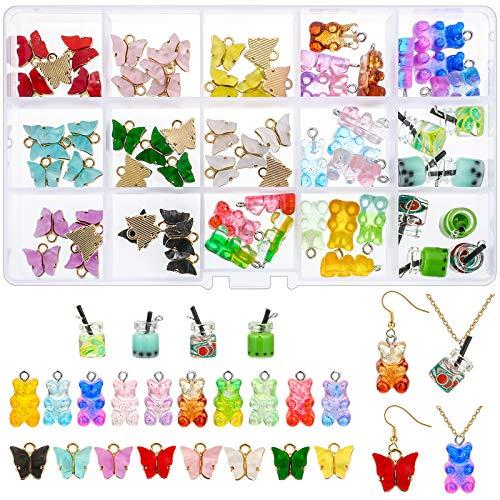 Souarts Charms Schmetterling Bär Anhänger Set für Ohrringe Armband Halskette Schlüsselanhänger,...